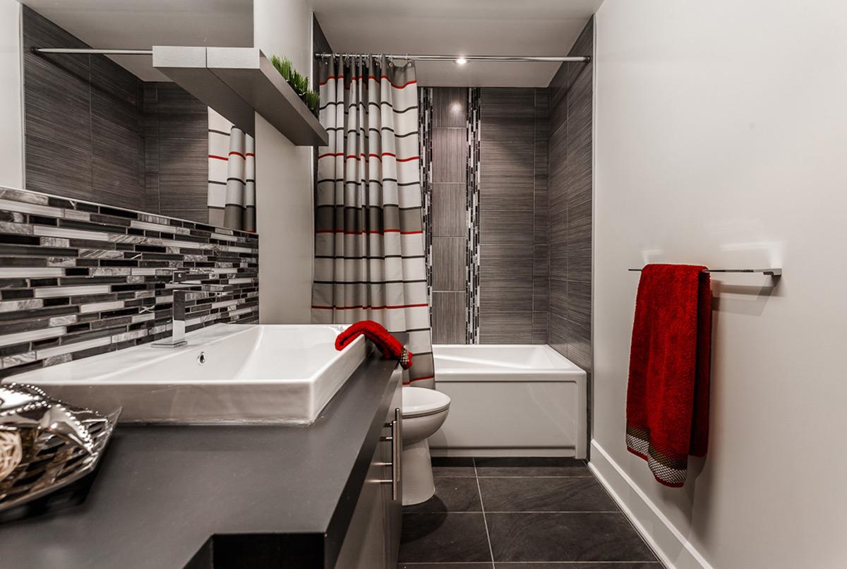 Photo Salle Bain Moderne salle de bain moderne en gris | armodec salle de bain laval